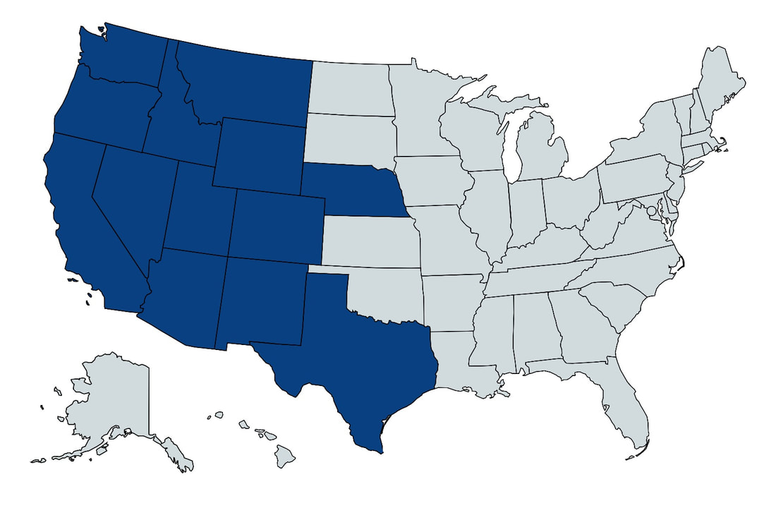 Map of United States with states B&B trucking services highlighted in blue